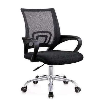 Black mesh office secretarial seat image 1