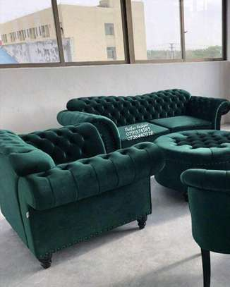 One seater sofa/three seater sofa/two seater sofa/footrest puff/modern green chesterfield sofas/complete set of sofas image 1