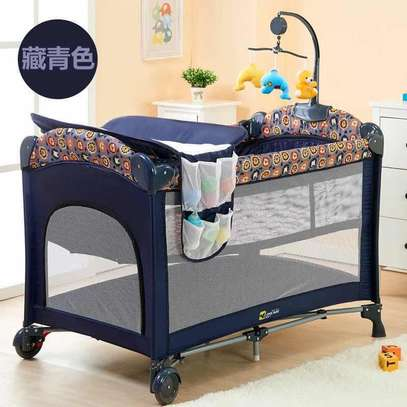 Dark Blue Baby Cot Playpen Baby Crib With Changing Station And Toys image 1