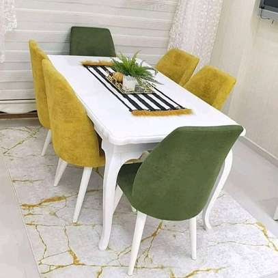6 seater upholstered dining set image 1