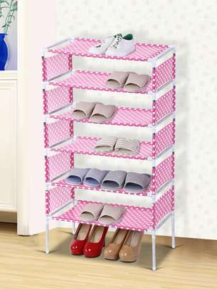 7 Tiers jungle green Shoe Rack With Dustproof Cover Closet Shoe Storage Cabinet Organizer - Pink image 1