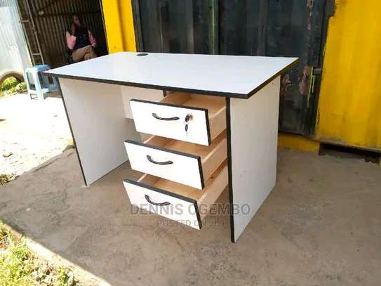 Laptop working office table with slide out drawers image 1