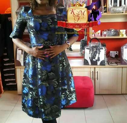 Jacquard Floral Skater Dress Made in UK. image 3