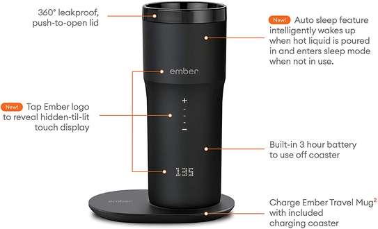 NEW Ember Temperature Control Smart Mug 2, 12 oz, Black, 3-hr Battery Life - App Controlled Heated Coffee Travel Mug - Improved Design image 3