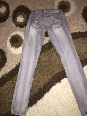 Ladies Grey Ragged Jeans image 2