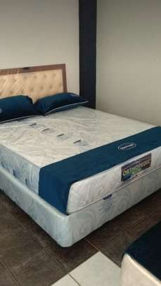 Bed with spring orthopedic mattresses image 2