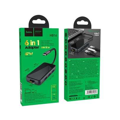 "Hoco Type-C hub ""HB16 Easy expand"" USB3.0*3 + HDMI + PD + RJ45 Ethernet image 3"