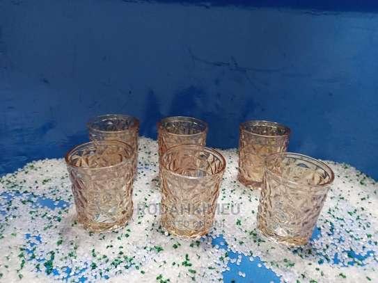 6 Gold Crystal Glasses image 1