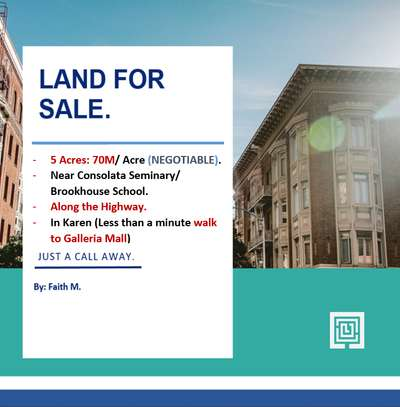 5 Acres Prime Land (Sale) in Karen, Near Consolata Seminary/ Brookhouse School (Galleria Mall Area), Along the Highway