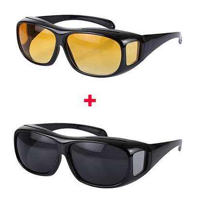 Day And Night Vision HD Polarized  Driving Glasses- Black And Yellow