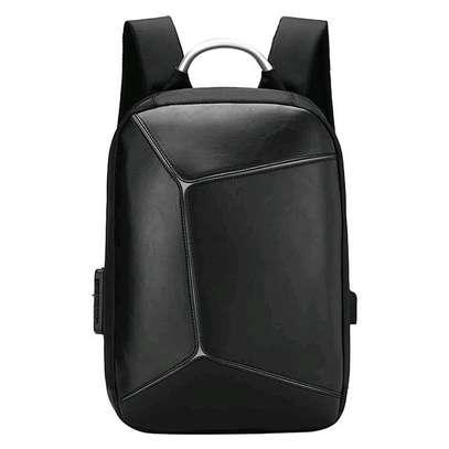 Antitheft leather Backpack laptop bag image 2