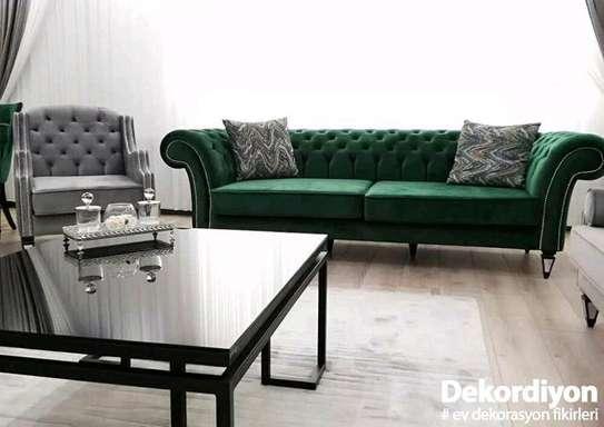 Three seater green chesterfield sofas/latest sofa set designs/sofa kenya image 1