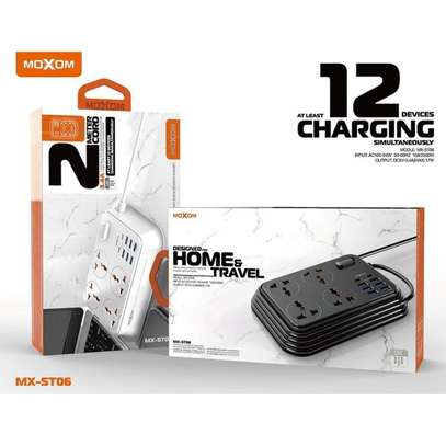 MOXOM MX-ST06 2-Meter Wall Extension Plug Cord with 4 Socket Outlets and 6 USB and 2 PD Charge 3.4A image 2