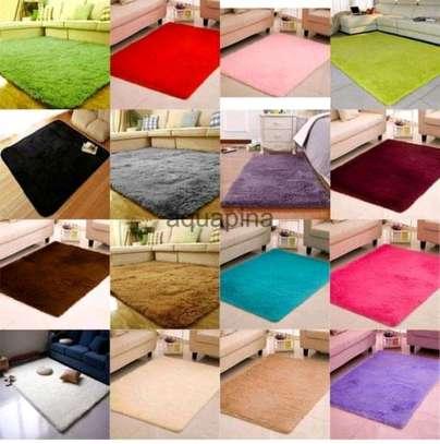Bedside and floor fluffy carpets image 2