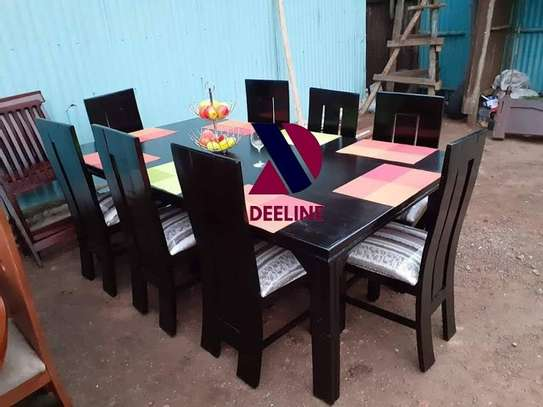 Black 8 Seater Dining Table Sets image 1
