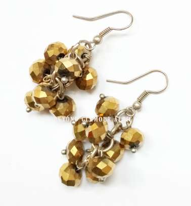 Brown Chandelier Crystal Earrings