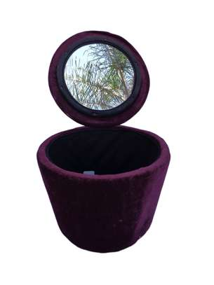 Round Velvet Jewellery Box With Mirror