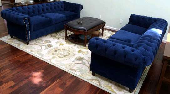 Blue five seater chesterfield sofas for sale in Nairobi Kenya/Three seater sofas image 1