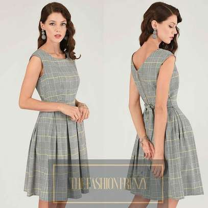 Grey Checked Skater Dress