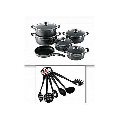 Quality Non Stick Cooking Pots With Clear Glass Lids-11 Pieces(Black) & 6 Non Stick Cooking Spoons