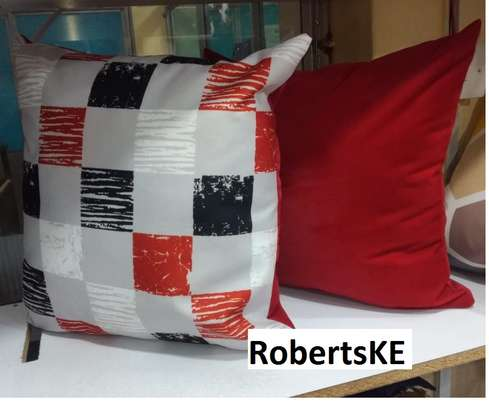Red with box throw pillows image 1