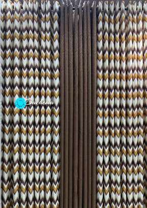brown double sided curtains image 1