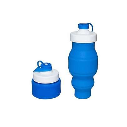 Food Grade 520ML Silicone Collapsible Water Bottles Travel Folding Cars Portable Foldable Drink Bottle-Blue image 1