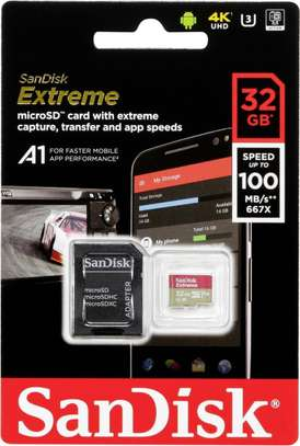 Sandisk Extreme 32GB microSDHC UHS-3 Card with Adapter – 100MB/s V30 A1 – SDSQXAF-032G-GN6MA image 1