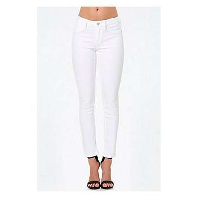 White High Waist Slim Fitting Jeans image 1