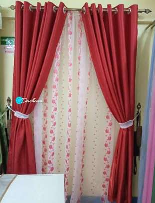 red custom made curtains image 1