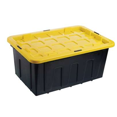 PLASTIC STORAGE TOOLBOX 100 LITRES WITH YELLOW LID (373975)(free 72 inch bungee cord) image 1