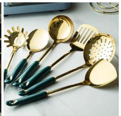 6pcs +1stand Heavy Golden Serving spoons set image 3