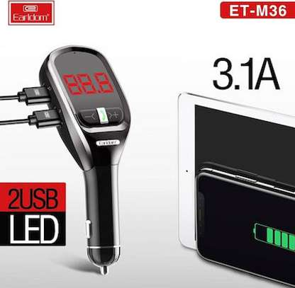 EARLDOM ET-36 FM TRANSMITTER CAR KIT WIRELESS MP3 CHARGER AUX AUDIO OUTPUT 3.1A image 3