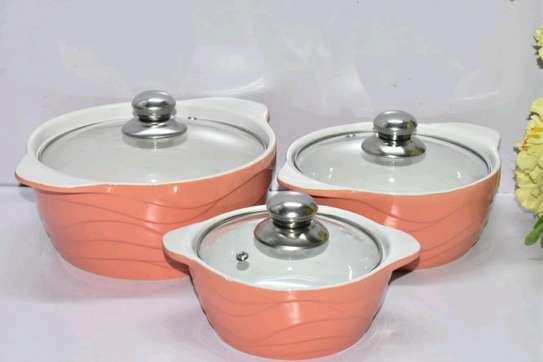 *3pcs set Ceramic serving dishes with glass cover image 2