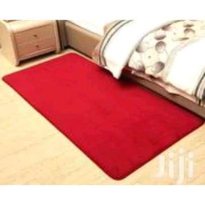 Red Anti skid fluffy bedside carpet image 1
