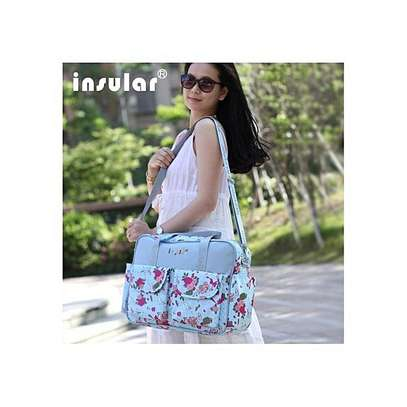 Insular Pattern Diaper Bag Muti-Function Water-Proof Travel Baby Nappy Changing Tote Bag Large Capacity Mummy Handbags- Blue