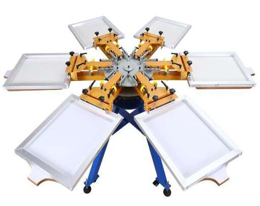 heavy duty double clamp 6 color 6 stations screen printer image 1