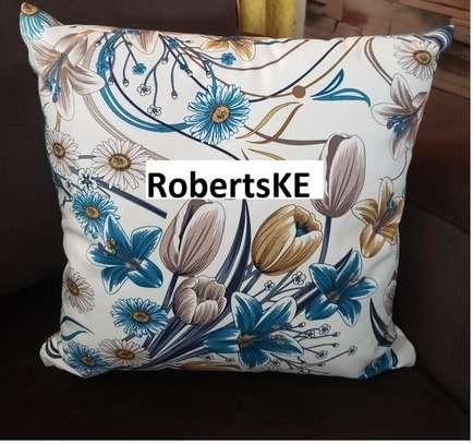 Blue flowered throw pillows image 1
