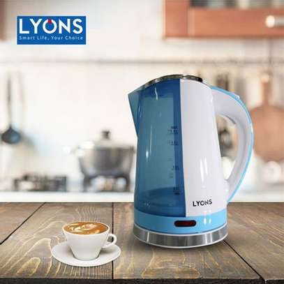 Lyons Cordless Stainless Steel Blue White See Through Electric Kettle 1.8L image 1