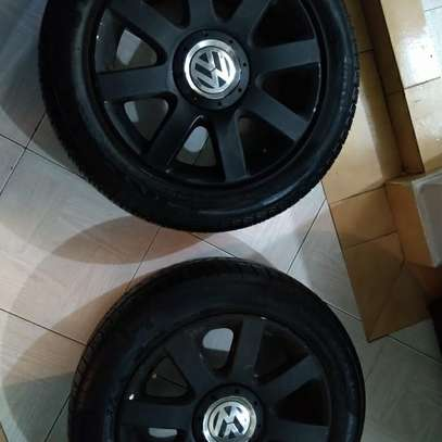 Slightly used car tyres plus rims image 3