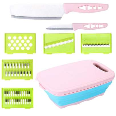 10 in 1 multi~ fuctional  Slicer, 2knives with Collapsable Colander& Chopping Board image 7