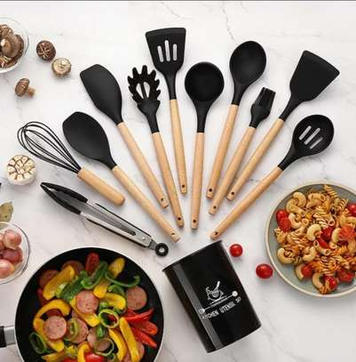 Kitchen Set Heat Resistant Silicone Cooking Spoon Set image 1