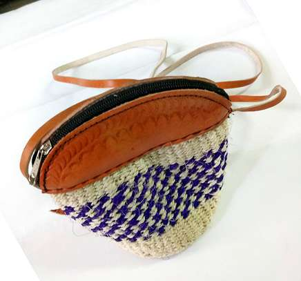 Purple Stripped Sisal Kiondo Purse image 1