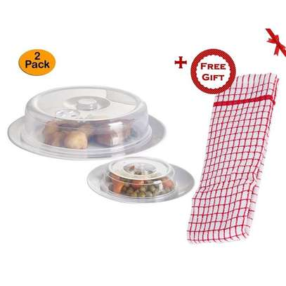 Set of 2 Ventilated Microwave Plate Covers – Microwave Food Covers (+ Free Gift Hand Towel). image 1