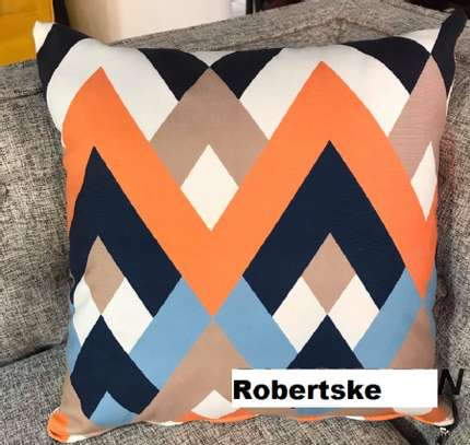 throw pillows  orange with blue and white