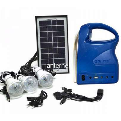 GD 7 - Solar Panel With 6v Battery,LED lights and phone charging Kit Flashlight And MP3 Player - Blue image 1
