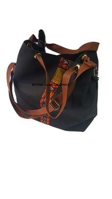 Ladies Brown Leather Handbag With Ankara Strip image 1