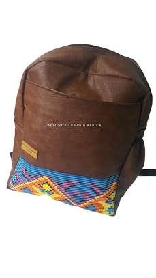 Brown with Ankara Strip Laptop Bag image 1