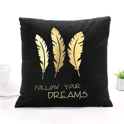 GOLD AND BLACK BRANDED THROW PILLOWS image 2