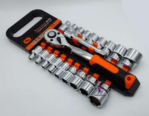 1/2 Inch 20PCS Ratchet Wrench Box Spanner Socket Set image 4